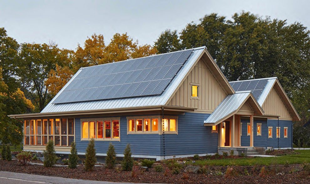 The two roof pitches provide plenty of space for the home's solar panels.